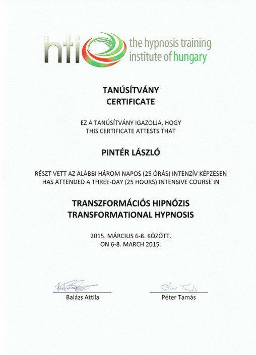 HTI Transzformációs hipnózis tanfolyami tanúsítvány