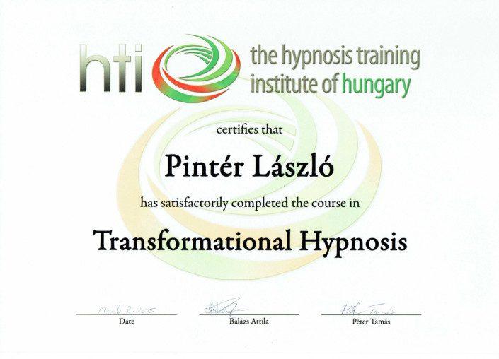 HTI Transzformációs hipnózis oklevél